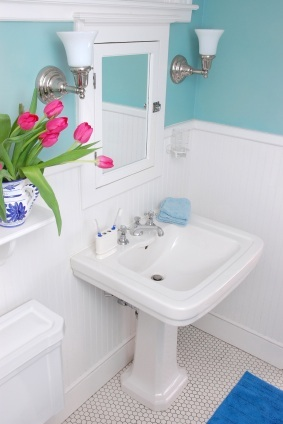 Bathroom Classic Blue Wall with White Wainscot