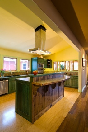 Kitchen Yellow Walls Green Brown Cabinetsmodern Country